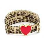 Ruby's Favorite - Leopard armband met emaille rood hartje