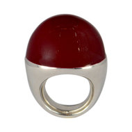 Fraleoni ring Balloon - Zilver met bordeaux rood